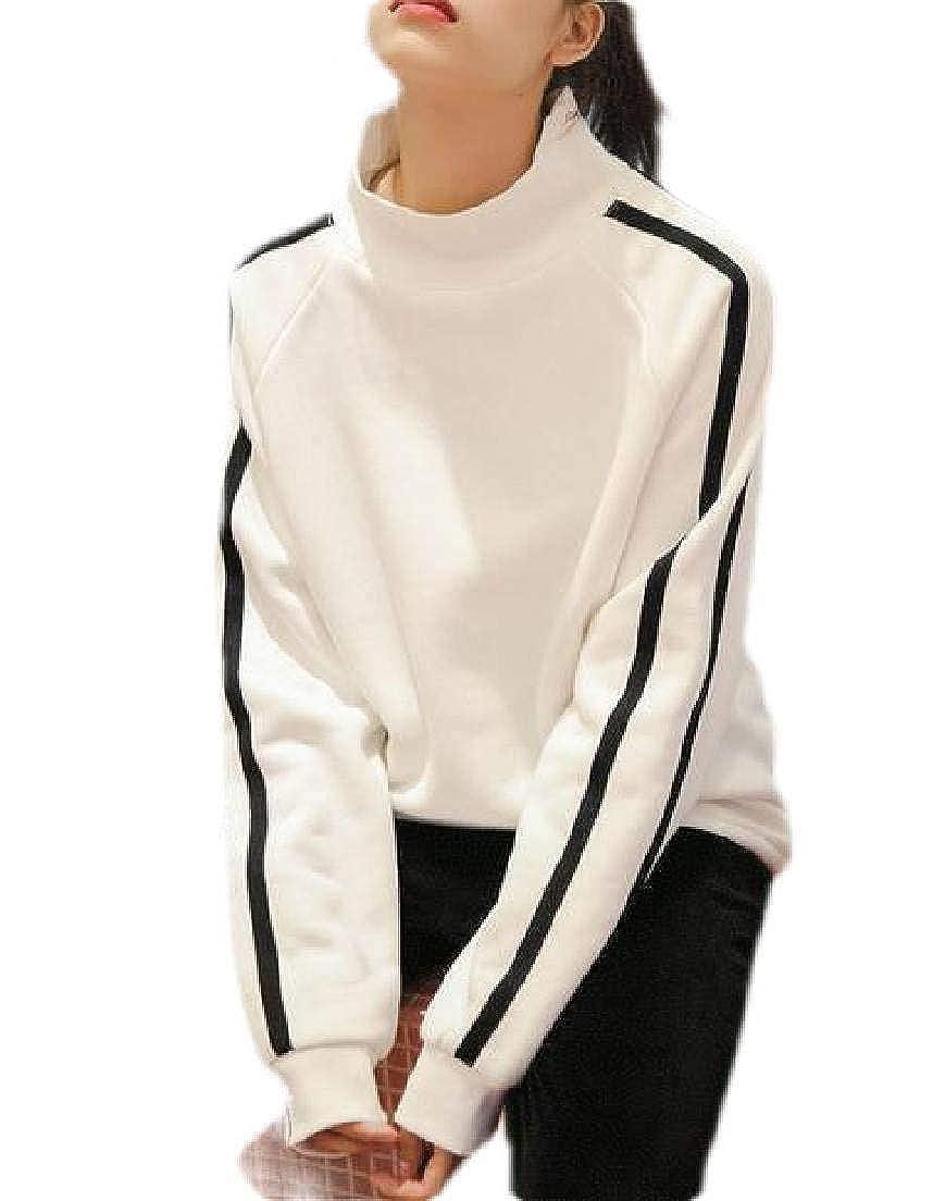 UUYUK Women Turtle Neck Long Sleeve Pullover Sweatshirt Top