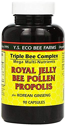 Y.S. Eco Bee Farms, Royal Jelly, Bee Pollen, Propolis, w/Ginseng 2Pack (90 Capsules) Important (Royal Jelly 90 Caps)
