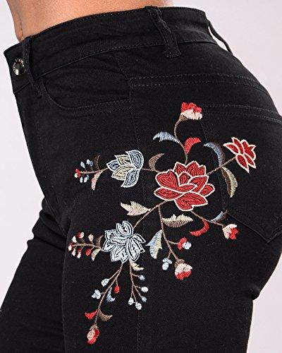 Pants Skinny Stretch Haute Noir Femme Jeans Broderie Crayon Pantalons Taille Denim Leggings x1wwqCv8