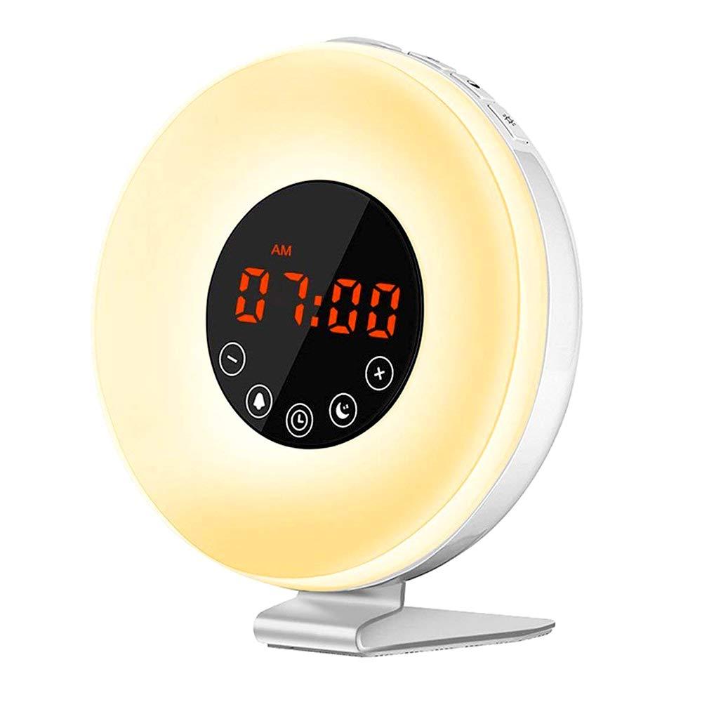 Wake Up Light,JVMAC Despertador luz LED y Radio Naturales con Simulación Sunrise,Luz Nocturna de Cabecera con radio FM, 7 colores LED, 6 Sonidos Naturales, 10 niveles del brillo, Control Táctil y USB