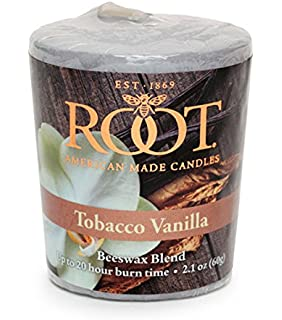 Root Candles 20-Hour Scented Beeswax Blend Votive Candles, 18-Count, Tobacco