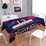Anmaseven 13th Birthday Square Dinning Tabletop Decor Hand Drawn Style Party Cake with Number Candles on Abstract Backdrop Table Cover for Kitchen Blue Pink White Size: W36 x L36