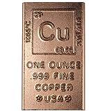 1 Ounce Copper Bar Bullion Element Design