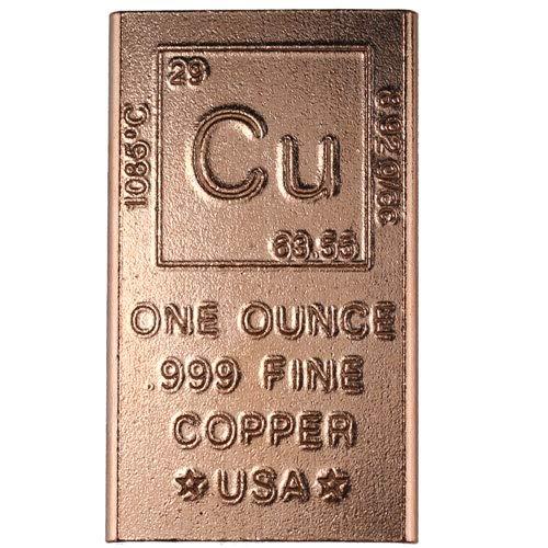 1 Ounce Copper Bar Bullion Element Design (1 Oz Copper Bar) (22nd Gift Anniversary)