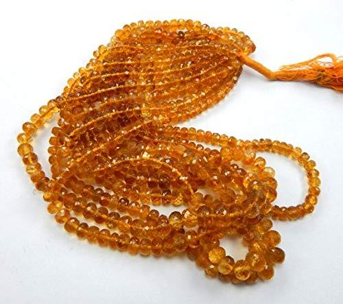 Madeira Citrine Gemstone - Gems World Beautiful Jewelry 5 Strands 5-8 mm Micro Faceted Brandy Madeira Citrine Roundel Beads Necklace Code-COM-2681