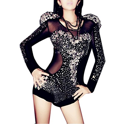 [Clubwear Sexy Sleeve Evening Dancing Bodysuit Hand-Made Diamond Sequin Halloween Party Modern Dancer Costume Black] (Jazz Dancer Halloween Costume)