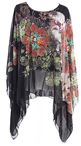 Uplife® Women's Loose Batwing Sleeve Tops Flower Bohemian Chiffon Blouse T Shirt Tops (One Size, Black) ()