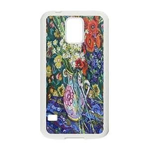 Van Gogh Art Irises Series, Samsung Galaxy S5 Case, Vase with Flowers, Vincent Van Gogh Case for Samsung Galaxy S5 [White]