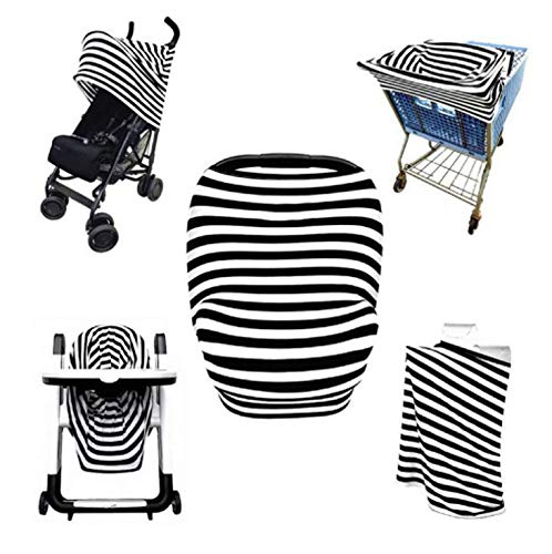 Saftybay Multi-Use 4 in 1 Flexible Nursing Breastfeeding Cover Scarf, Baby Car Seat Canopy,Shopping Cart, Stroller,Child Seat Dining Chair,Car Seat Covers for Girls and Boys (Black&White)
