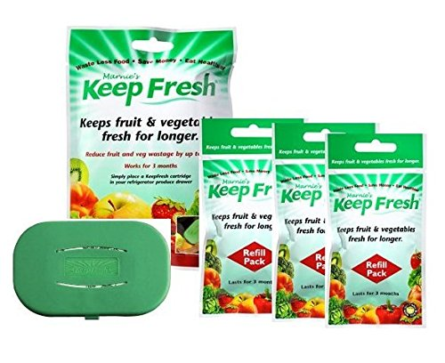 Gas Absorber - Produce Saver and Preserver Kit for Fridge - Natural Ethylene Gas Absorber for Vegetables and Fruit - Food and Nutrient  Preserving Set with Refills - Extends Freshness and Taste.
