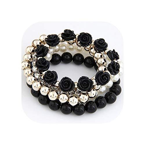 tthappy76 Bohemian Fashion Candy Color Pearl Rose Flower Multilayer Beads Stretch Charm Bracelet & Bangle for Women,Black