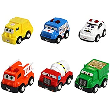 yoptote mini toy cars push pull back car play set construction vehicles race car. Black Bedroom Furniture Sets. Home Design Ideas
