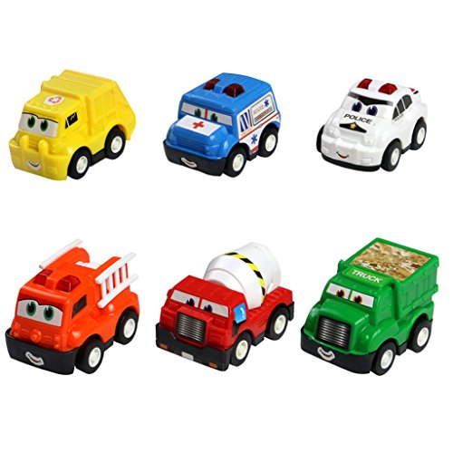 Mini Toy Cars Pull Back Car Play Set Cartoon Vehicle Trucks for 2 3 4 6 Years Old Baby Toddlers Kids Boys Party Favors Birthday Cake Toppers Decorations Pinata Filler Christmas Stocking Stuffer 6 Pack