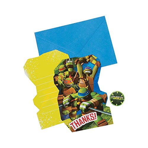 Fun Express - Tmnt Thank You Cards (8pc) for Birthday - Party Supplies - Licensed Tableware - Licensed Invitations - Birthday - 8 Pieces