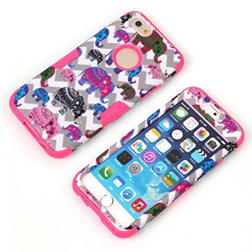 iPhone 6s Case, iPhone 6 cas, Hard Case Lantier hybride Heavy Duty robuste avec Shell silicone dur PC + l'intérieur du capot antichoc pour Apple iPhone 6 / 6S 4,7 pouces (coloré Elephant Violet)