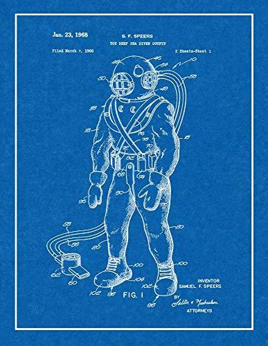 Deep Sea Diver Outfit (Toy Deep Sea Diver Outfit Patent Print Blueprint with Border (8