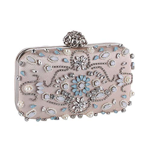 1 Apricot Handbag - A-KEY Clutch Bag Europe and America Banquets Dress Bags Evening Bags Diamonds Clutches Handbags Evening Bag for Bridal (Color : Apricot, Size : One Size)