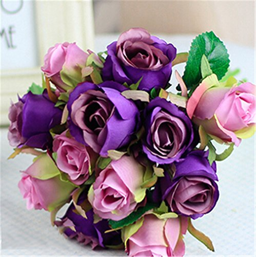 12Pcs Artificial Rose Bouquet Decorative Silk Flowers Bride Bouquets For Wedding Home Party Decoration Wedding Supplies Purple