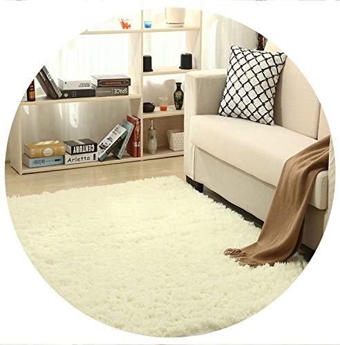 world-palm Super Soft Silk Wool Rug Indoor Modern Shag Area Rug Silky Rugs Bedroom Floor Mat Baby Nursery Rug Children Carpet,Beige White,40X60cm