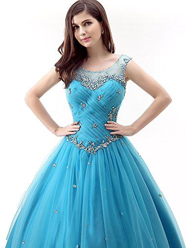 Okaybrial Women's Vestidos DE 15 Anos Quinceanera Tulle Pleated Beaded Sleeveless Formal Evening Gowns