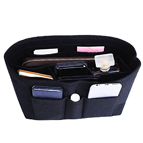 Felt Insert Bag Organizer Bag In Bag For Handbag Purse Organizer, Six Color Three Size Medium Large X-Large (Large, Black)