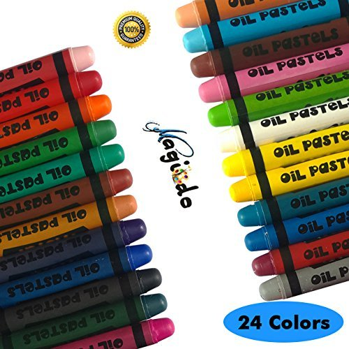 Magicdo 24 Cols Soft Oil Pastels Stick -Bold Opaque Colors, Non Toxic, Smooth Blending Texture