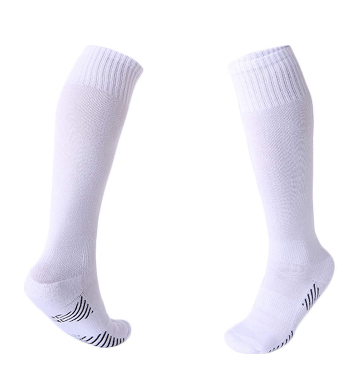 3 Pairs Boys Girls Soccer Socks Towel Cushioning Compression Sport Socks Cotton Team Socks for Children & Kids & Teenagers White by EBlife
