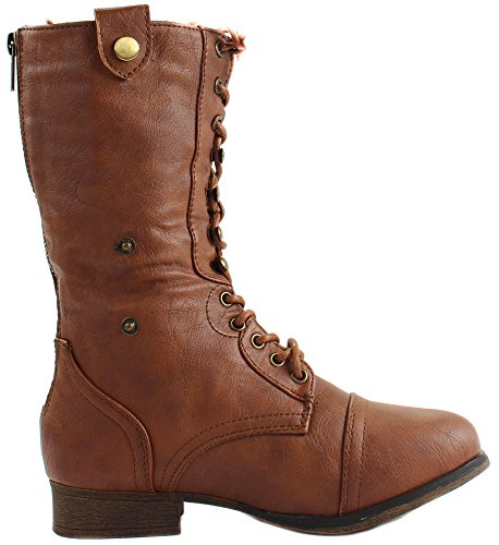 Tan Women's Ankle Boots Smart Moda Leather up Faux 1 Lace Folding Top A1UPwSqOnx