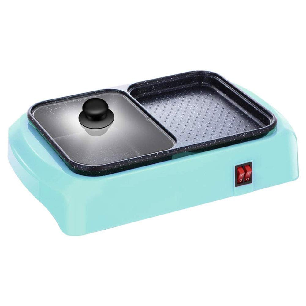 Yyqthg Multifunctional hot Pot, Integrated Barbecue Household Electric Baking Pan Dual-use Barbecue Machine Dormitory Multifunctional One-Pot Dual-use Independent Switch (Color : Blue) by Yyqthg