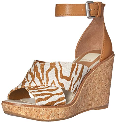 Dolce Vita Women's Urbane Wedge Sandal, Brown/Natural Zebra Print, 8.5 M US