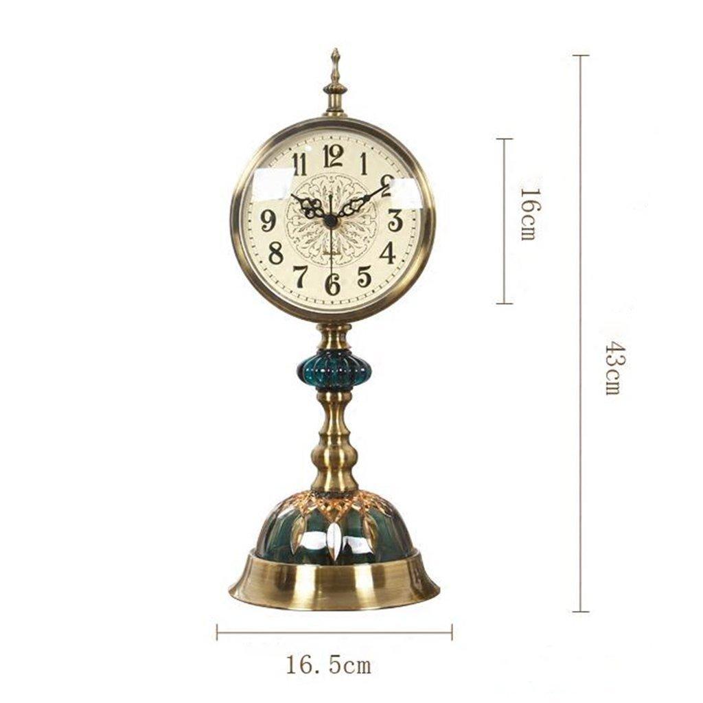ZAZAZA Health UK Clock- Clock American Retro Ice Cracked Ceramic Table Clock Mute Creative Copper Desktop Clock Classical Sitting Bell Welcome by ZAZAZA (Image #4)