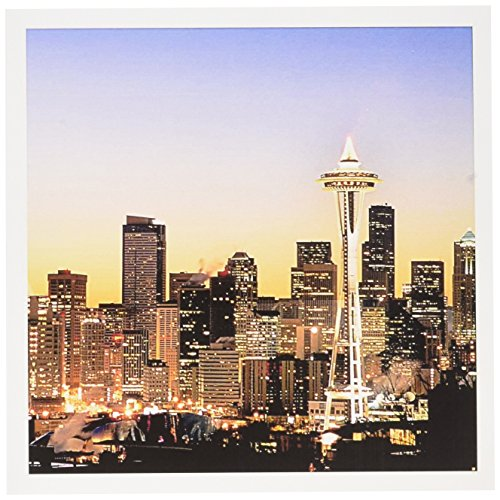 3dRose Seattle skyline, Christmas holiday - US48 RDU0063 - Richard Duval - Greeting Cards, 6 x 6 inches, set of 12 (gc_96597_2)