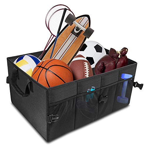 AsFrost Car Trunk Organizer Basket, Collapsible Foldable Auto Trunk Organizer Storage Bin Cubes, Portable Grocery Cargo Container for SUV, Vehicle, Truck, Home and Office, Black - Organizer Cube Trunk