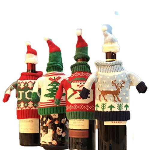FEFEHOME Christmas Wine Bottle Cover Gift Warping Ugly Sweater (Set of 4) -(F) by FEFEHOME (Image #10)