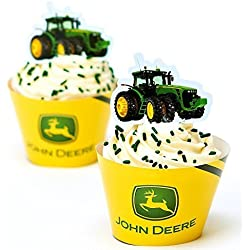 John Deere Cupcake Wrapper with Tractor Pick