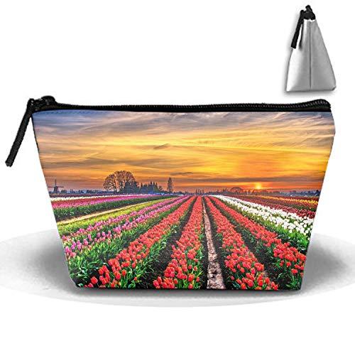 Travel Makeup Tulips Field Cosmetic Bag Hanging Storage Brush Organizer