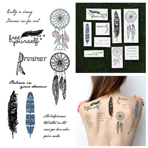 Dreamcatchers & Feathers Temporary Tattoo Pack (Set of (Makeup Artist Costume Ideas)