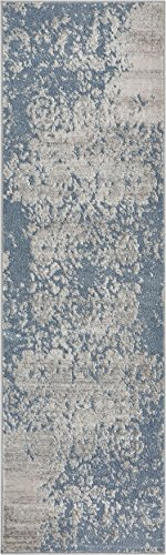 - Well Woven Forte Blue Microfiber High-Low Pile Vintage Abstract Erased Floral 2x7 (2'3