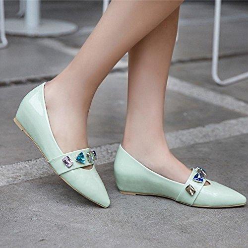 COOLCEPT Zapato Mujer Moda Medio Tacon de Cuna Heel Resplandecer Sin Cordones Court Zapatos En aumento Verde