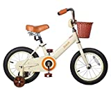JOYSTAR 14 Inch Kids Bike for 3-5 Years Old Girls, Kids Bicycle with Front Basket & Training Wheels, (Beige & Pink)
