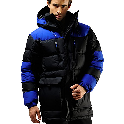 FUERZA Mens Winter Down Wellon Hooded Heavy Duty Parka Jacket Coat (Large, (Goose Down Winter Coat)