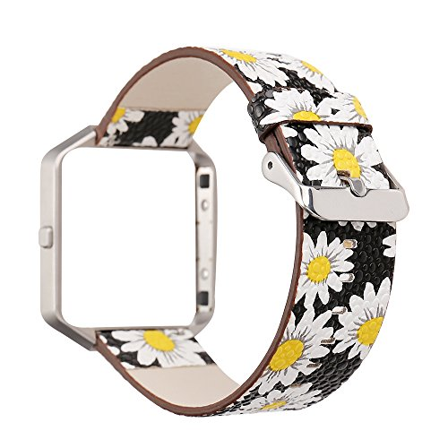 and for Fitbit Blaze, Watchband Floral Soft Leather Strap Replacement Watch Band Wristband Bracelet Strap and Frame for Fitbit Blaze (Chrysanthemum Black) ()