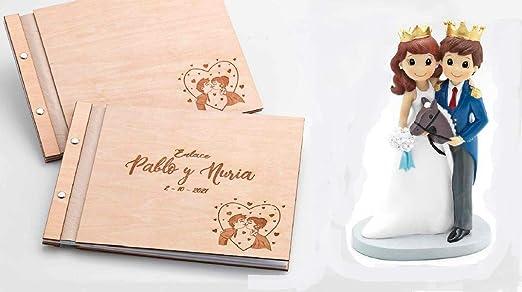 Momparler1870 Libro de firmas Boda en Madera y Figura Tarta Novios *Cuentos* - Pack Ideal para Bodas: Amazon.es: Hogar