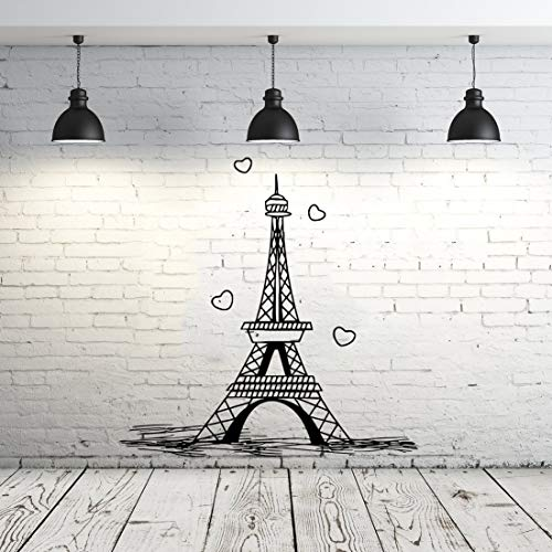 Eiffel Tower Wall Decal Vinyl Stickers Decals Art Home Decor Mural Vinyl Lettering Wall Decal Paris Silhouette France Bedroom Dorm ZX253 by IncredibleDecals