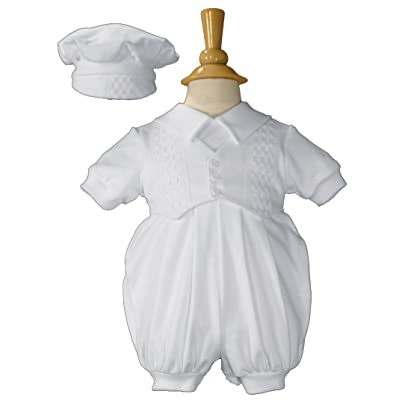Boys Cotton Christening Outfit Celebration Set with Vest and Hat