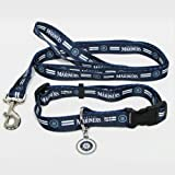 Hunter Manufacturing HUN-4100-14-6100 Seattle Mariners MLB Dog Collar & Leash Set