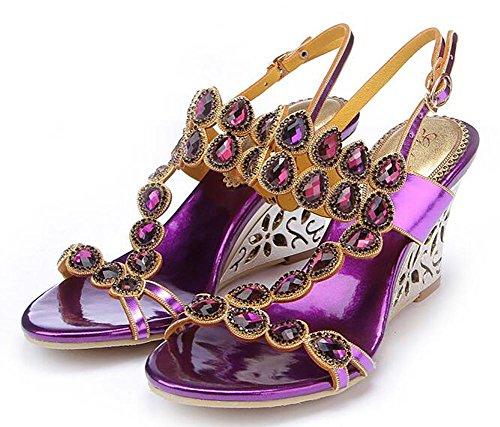 SYYAN Mujeres Cuero Piedras De Strass Boca De Pescado Hueco Hecho A Mano Bomba Vestir Sandalias Fiesta Púrpura Purple