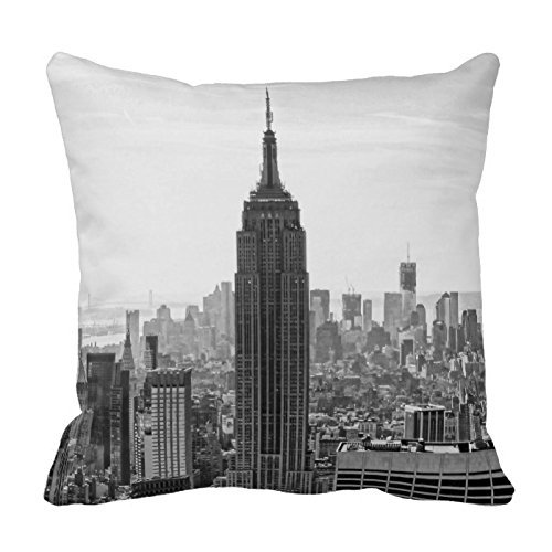 GraebnerSaleStore 18X 18inch Pastoral Style Cotton Linen Decorative Throw Pillow Cover Cushion Case Ny City Skyline Empire State Building H:399 (Ny Throw Pillow)