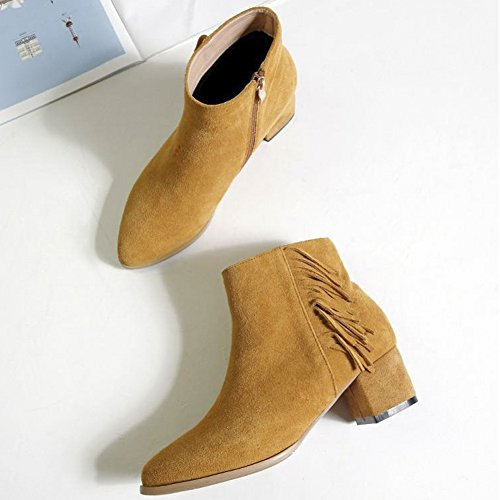 Orange Pointed Toe Heel Ankle Genuine QZUnique Boots Tassels Elegant Women Zipper Chunky Square Martin Leather with Booties zavv4nx7