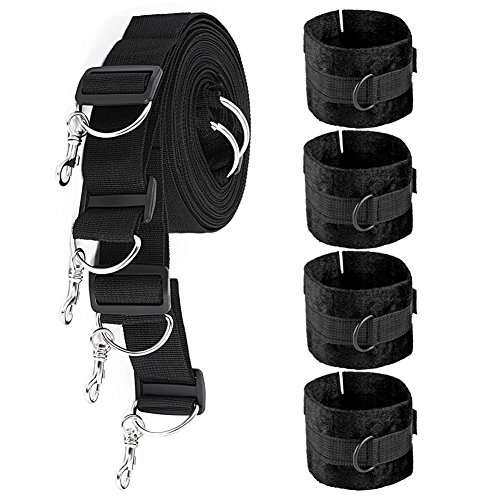 Rewarwer Indoor Bedroom Play Straps with Soft Adjustable Cuffs for Hand Wrist Ankle - Fit Almost Any Size Mattress and All People